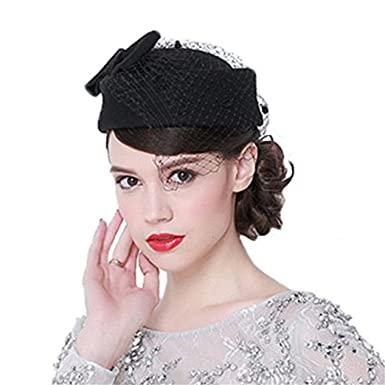 ZYCC Pillbox Hat Fascinator with Veil Vintage Bow Wedding Hats for Women  with Two Little Combs c1072b43f58
