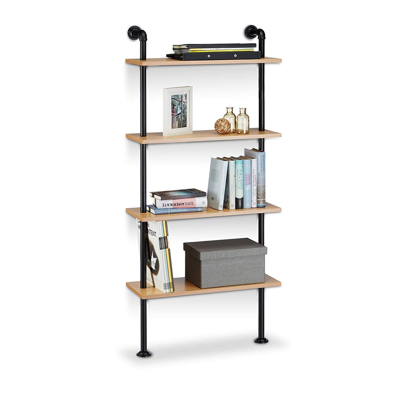 ZR- 工業用壁棚ユニット、4棚、壁掛け、書棚、木製、ビンテージ、レトロルック、142.5X60X24 Cm(HxWxD) B07L9KLGMG