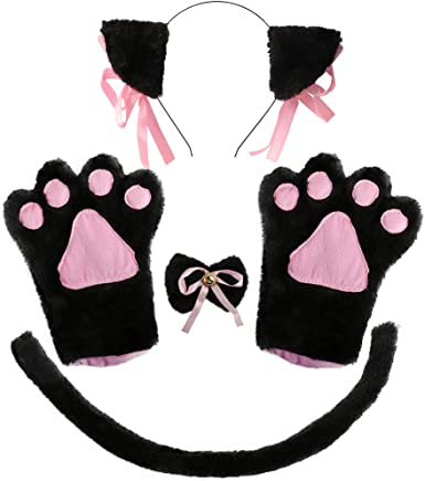 Pretty Kitty Costume Accessory Set Adult Cat Ears Headband Gloves Tail Halloween