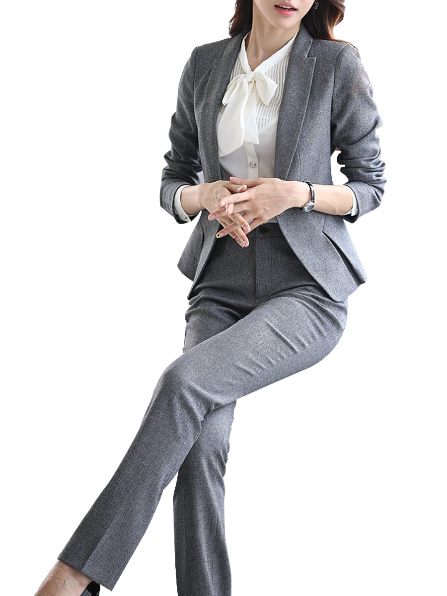 LISUEYNE Women 2 Pieces Solid Blazer Single-Breasted Office Lady Suit for Work Jacket and Skirts/Pants