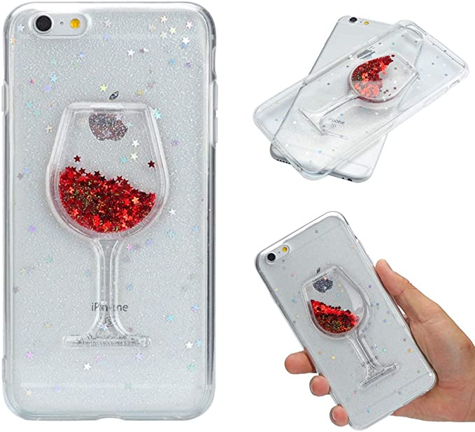 CaseLover Coque iPhone 6S Plus6 Plus Silicone, Verre à Vin Liquide Glitter en TPU Gel Etui Coque Mode Clair Transparente Case Slim Strass Mouvant