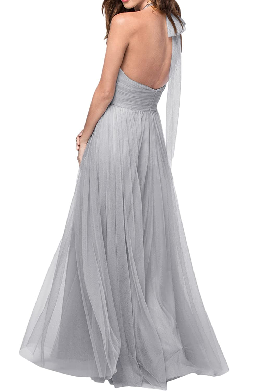 Promgirl House Damen Schick Tuell Satin A-Linie Neckholder Lang Cocktail  Partykleider Brautjungkleid Ballkleider Abendkleider Lang: Amazon.de:  Bekleidung