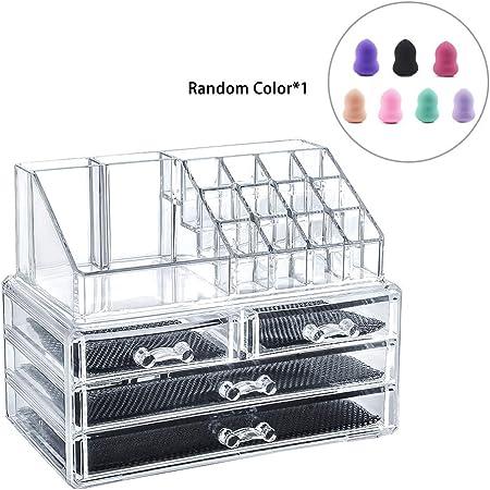 LEMAIKJ Organizador de Maquillaje Acrílico, Caja Transparente para Cosméticos, Caja Almacenamiento Multi-Funcional, 2 Grandes Cajones: Amazon.es: Hogar