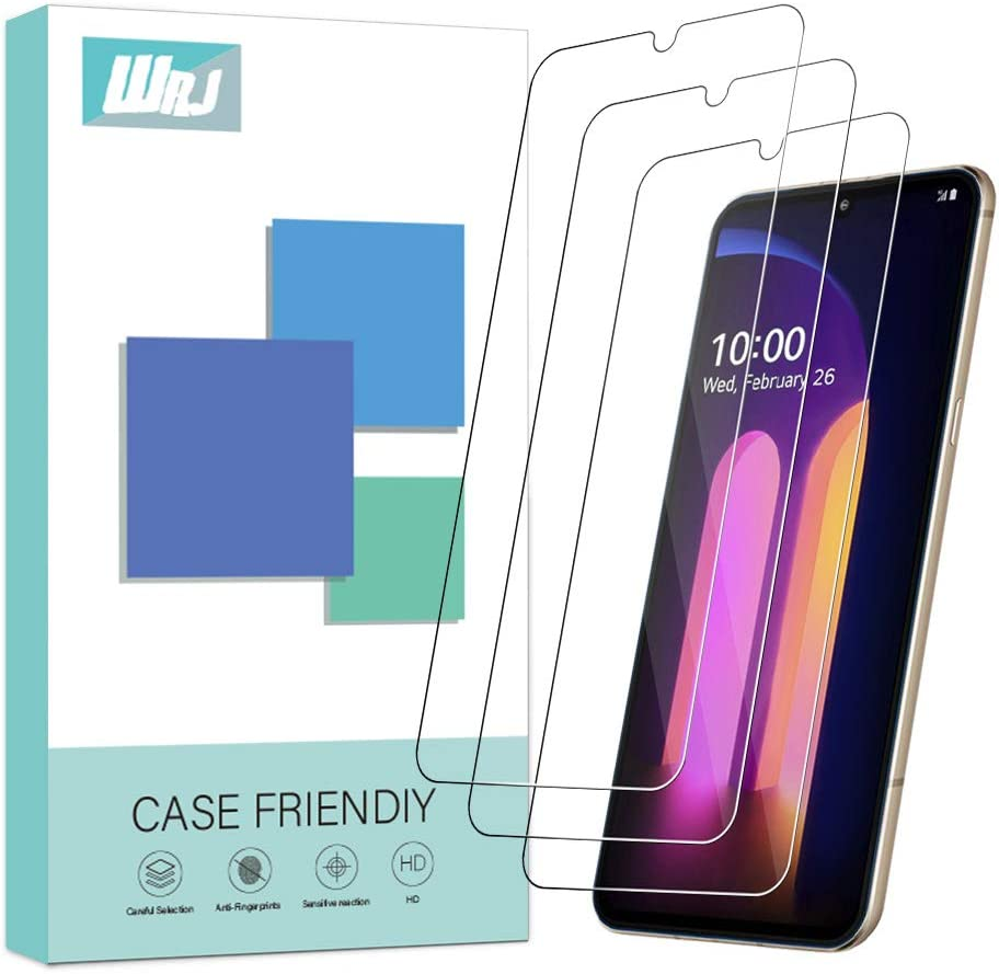 [3-Pack] WRJ Screen Protector for LG V60 ThinQ (Not for The LG Dual Screen),HD Anti-Scratch Anti-Fingerprint No-Bubble 9H Hardness Tempered Glass for LG V60 ThinQ 5G