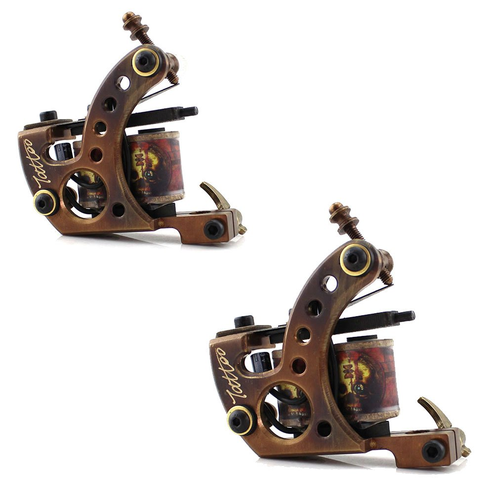 HoriKing Tattoo Supply Professional Tattoo Machine Gun Copper Frame 12 Warp Coil Handmade Carving for Liner Or Shader Supply