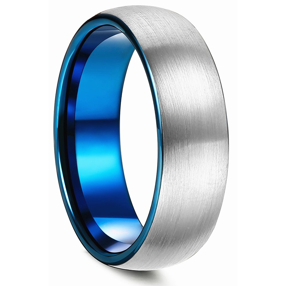 King Will DUO 8mm Blue Domed Titanium Ring Wedding Engagement Band Brushed Matte Polish Finished Comfort Fit 9