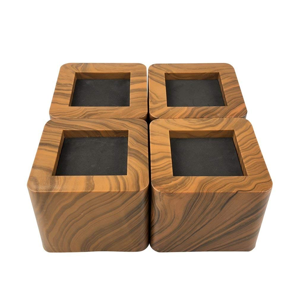 MIIX HOME Bed Risers 3 Inch | Heavy Duty Wooden Color Furniture Riser | 4PCS | Brown Sofa Risers or Table Risers by MIIX HOME (Image #1)