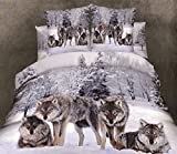 California King Versus King Size Bed Grey Cotton Duvet Cover Sets Full Size,Luxury Wolf Bedding,1 Bed Sheet,1 Quilt/Comforter Cover Full,2 Pillow Shams,Soft 3D Bedding Sets Twin/Queen/King/California King