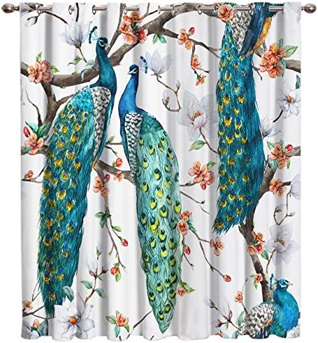 SIMIGREE Blackout Window Curtains Green Peacock Pattern Poem Window Treatment Darkening Thermal Insulated Curtains for Living Room Bedroom Window Drapes 52 x63