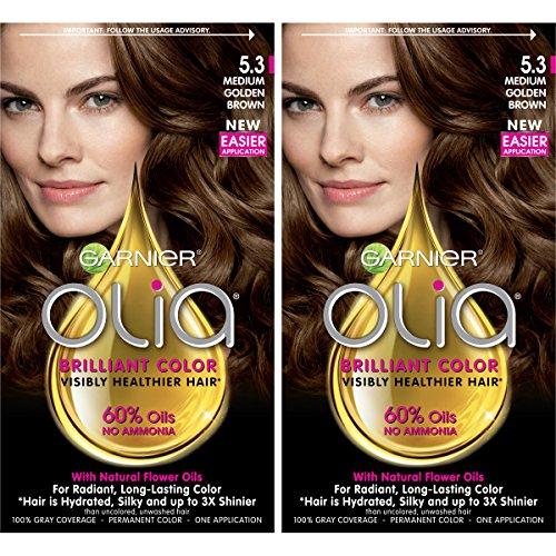 Garnier Olia Ammonia-Free Brilliant Color Oil-Rich Permanent Hair Color, 5.3 Medium Golden Brown (2 Count) Brown Hair ()