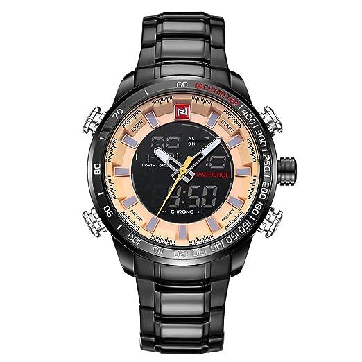 Naviforce reloj 9093 (oro negro) Hombres Deportes impermeable punteros y pantalla LED de acero inoxidable reloj de cuarzo: Amazon.es: Relojes