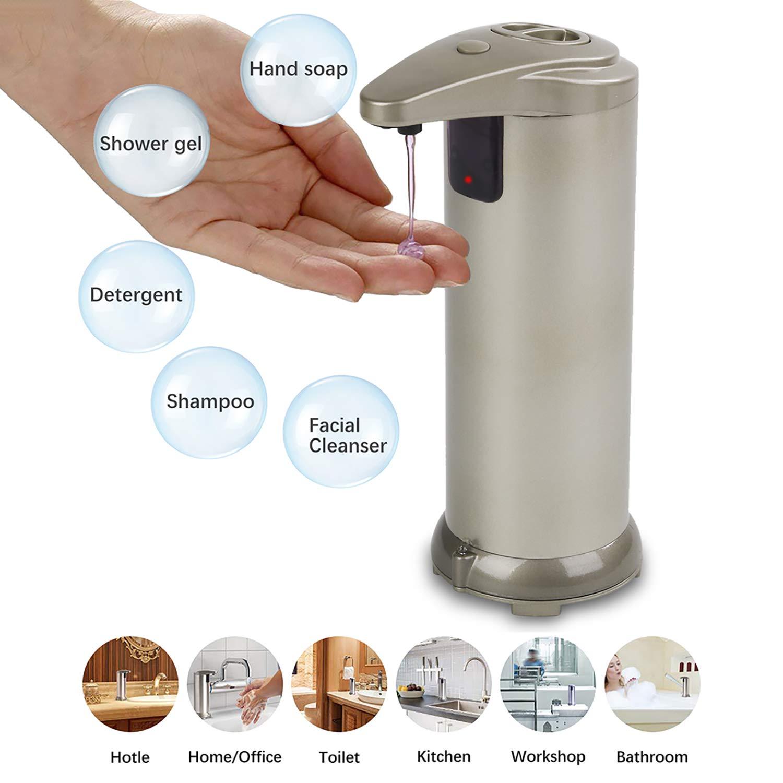 Dispensador Jabón,Kapmore Automático Inoxidable Acero Líquido Dispensador Movimiento Sensor Mano Dispensador Jabon Cocina