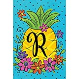 """"""" Pineapple Flowers """" – Letter R – Embroidered Monogram – Garden Size, 12 Inch X 18 Inch, Decorative Double Sided Flag , Copyright, Licensed and Trademarked by Custom Décor Inc"""