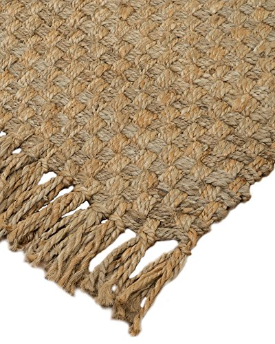 NaturalAreaRugs 100% Natural Fiber Handmade Reversible Basketweave Chunky Chatsworth Jute Rectangular Rug (8' X 10') Beige -