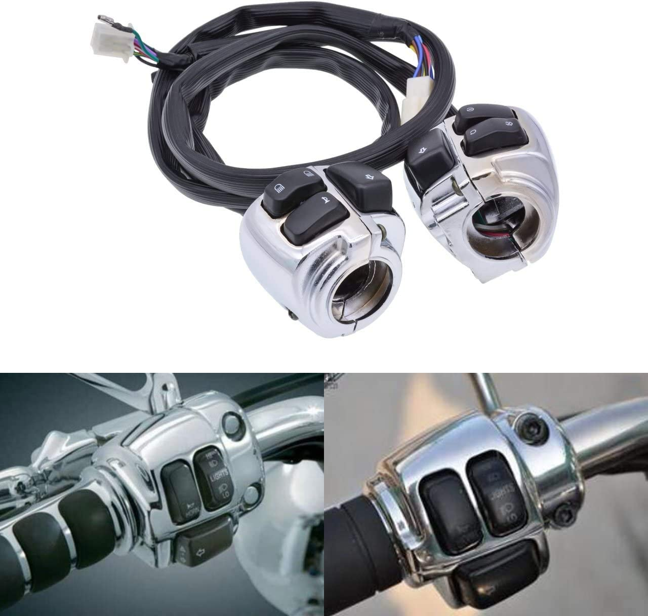 Sportster 1200 Dyna Clankmoto Waterproof Motorcycle 1 25mm Handlebar Control Switch with Wire for 1996-2012 Harley Softail Sportster 883 V-Rod