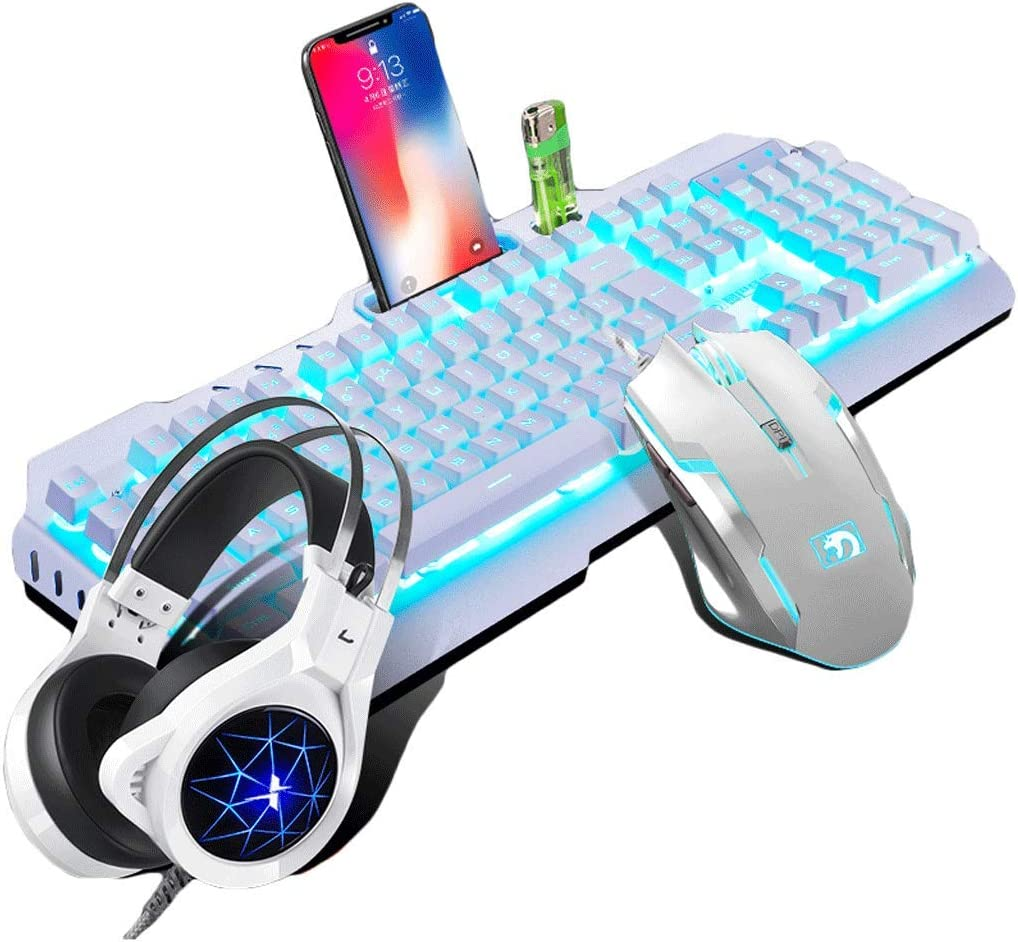 OFNMD Mechanical Keycap Wired Keyboard Mouse Set Headset E-Sports Game Internet Cafes Home Colorful Backlight Metal Color : Black Mouse Keyboard Set