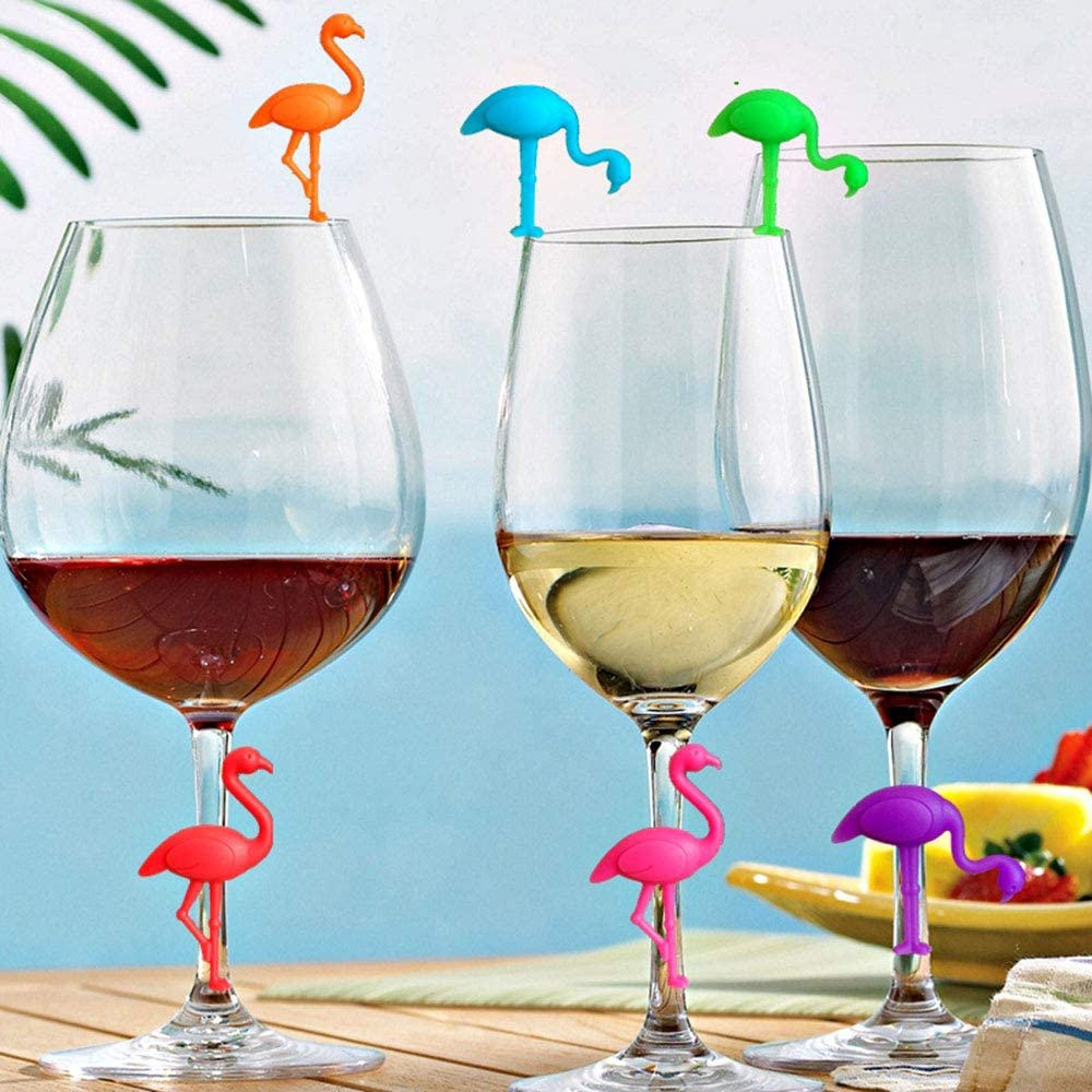 6pcs Wine Glass Markers Silicone Recognizer Multicolor Wine Drink Markers for Party Bar Table Decorations Home Use Gwolf Gwolf Silicone Glass Markers Drink Markers Flamingo Glass Marker