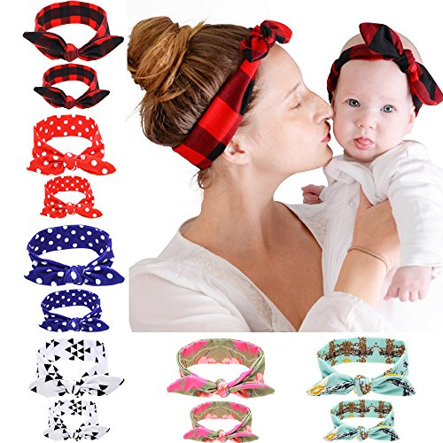BEEGOO 6 Sets 6 Colors Mommy and Me Headbands Hair Band Bow Knot Headbands Baby Hair Accessories Turban Baby and Mommy Cotton Headwrap Set 2 Pcs (6 sets)