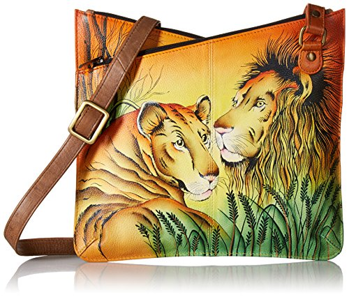 in Hand Anna Love V Crossbody Multicompartment Lion Leather Anuschka Painted Women'S Top fO5vxTwqT