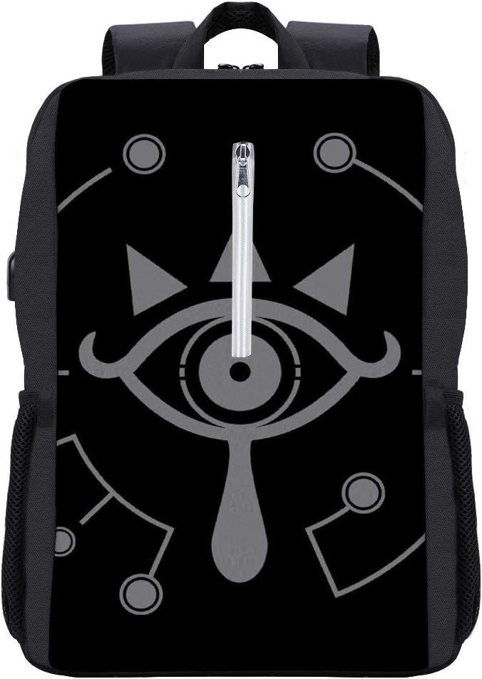 Legend of Zelda Breath of The Wild Sheikah Eye White Backpack Daypack Bookbag Laptop School Bag with USB Charging Port