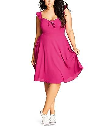 Pretty Flutter Plus Size Fit Flare Dress In Fuschia Size 22 Xl