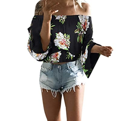 Clearance ! ! SFE Fashion Cold Shoulder Placement Floral Print Bell Sleeve Loose Top T-Shirt Casual Blouse