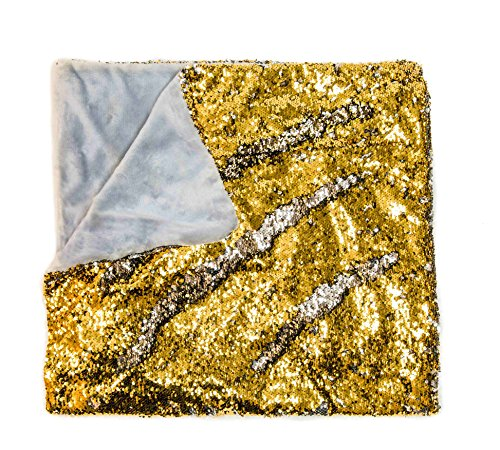 KOVOT Sequin Mermaid Style Throw Blanket 50 x 60 - Reversible Color Sequins To Change The Look And Design (Gold/Silver)