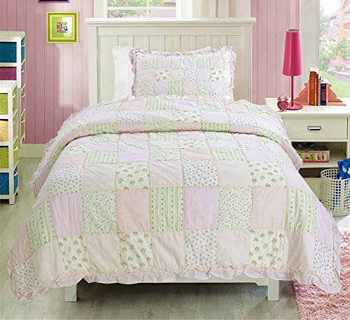 Cozy Line Home Fashions Peach Lace Floral Pink Green Orchid Rose Flower Printed Patchwork 100% Cotton Quilt Bedding Set Bedspread Coverlet Gifts for Baby/Little Girls (Pink, Twin - 2 Piece)