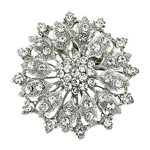 Flower Pin Pendant (Fashion Floral Rhinestone Brooch Pin Flower Crystal Bouquet Breastpin Elegant Wedding Brooch Pendant)
