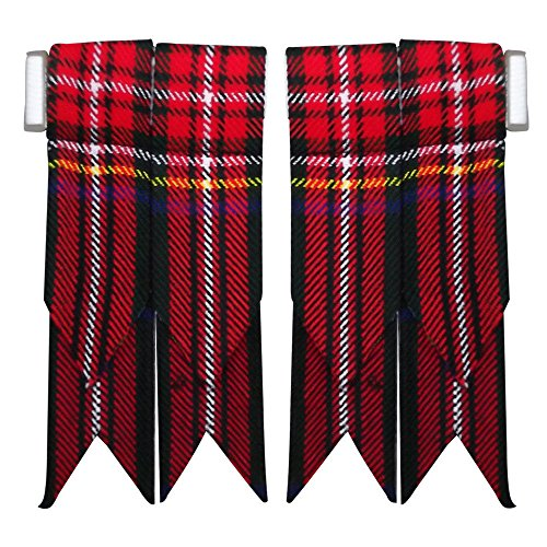 (AAR New Solid Plain Black, Royal Stewart Tartan Flashes Many More Scottish Kilt Hose Sock Flash (Black Stewart))