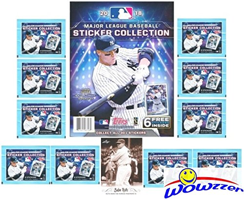 2018 Topps MLB Baseball Stickers Special Collectors Package with 10 Factory Sealed Packs, 32 Page Album & Bonus Babe Ruth Card! Includes Total of 86 New Stickers! Look for all (Topps Baseball Sticker)