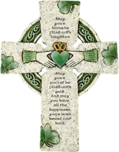 "Elysian Gift Shop Irish Blessing Celtic White and Green Wall Cross with Claddagh, Celtic Knots and Shamrock Design Details (10"" H)"