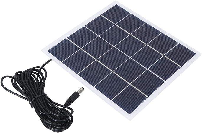 Keenso Panel de batería Solar, portátil al Aire Libre 4W 5V Panel Solar de polisilicio Reemplazo de Panel Solar al Aire Libre con Interfaz de CC Carga ...