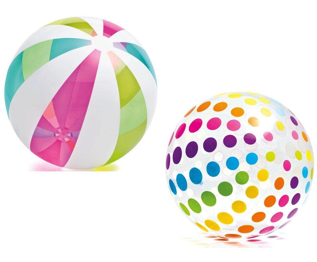 Intex Piece 空気注入式巨大ビーチボール 半透明ドット/ストライプ柄 2個 42インチ   B01DYP5LZ6