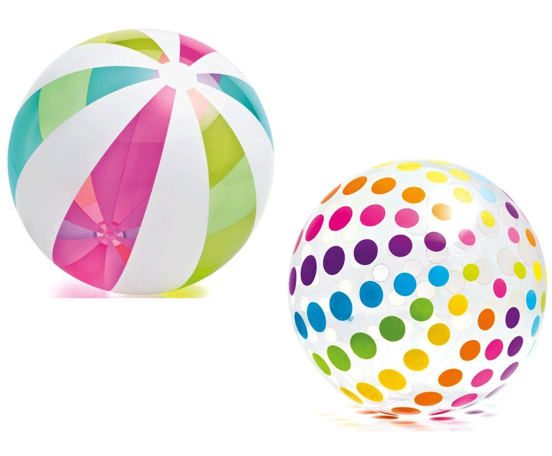 Intex Piece Jumbo Inflatable Translucent Dots / Stripes Giant Beach Balls, 2 Piece, 42-Inch