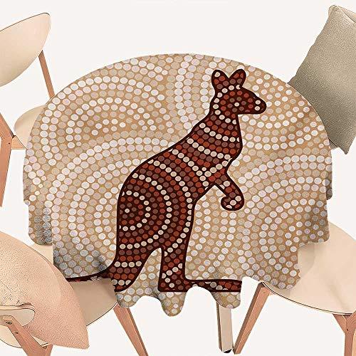 W Machine Sky Tropical Animals Wrinkle Free Tablecloths Aboriginal Kangaroo Motif Ancient Cream Toned Circling Dot Design Round Tablecloth D 36