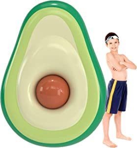 Waft Inflatable Avocado Pool Float- Pool Floatie With Brown Ball- Ideal For Adults & Children Ages 5 & Up- Easy Inflation & Deflation- Thick & Long-Lasting- Great Gift Option- Weight Capacity 150 Kg