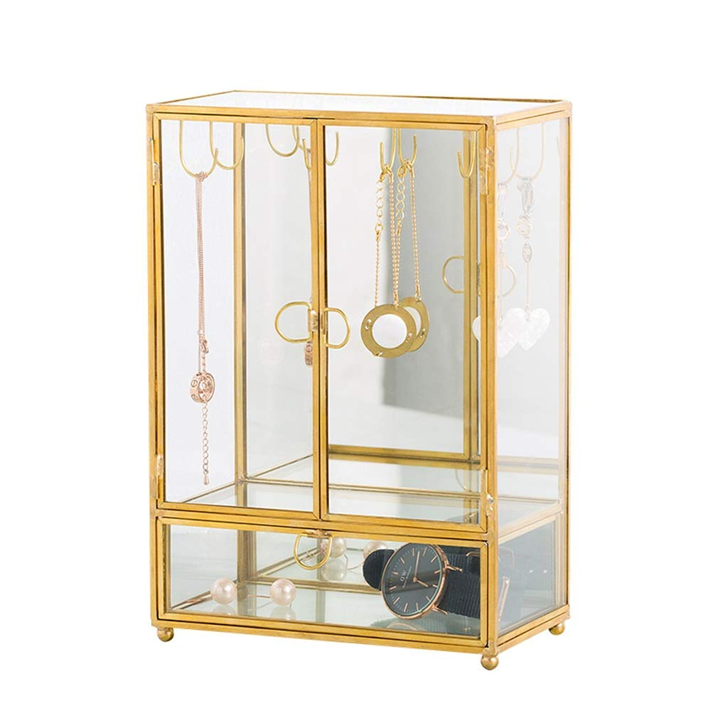 Jewelry rack Hanging Jewelry Organizers Jewelry Frame Jewelry Stand Copper Dustproof Desktop Jewelry Display Stand Storage Finishing Environmental Storage Rack (Color : Gold, Size : 23.516.59cm)