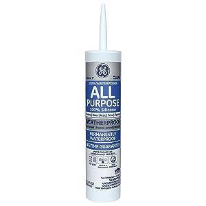 GE GE012A Silicone 1 All Purpose Sealant Caulk, 10.1oz, Clear - 12 Pack