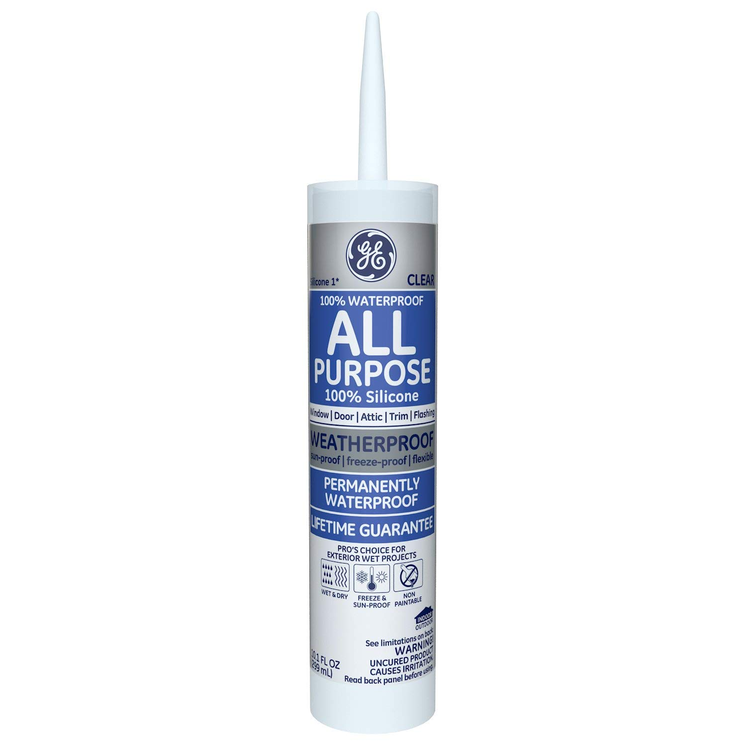 Momentive Performance Materials GE012A Silicone I Window and Door Caulk with 10.1-Ounce Cartridge, Clear( 12 Pack)