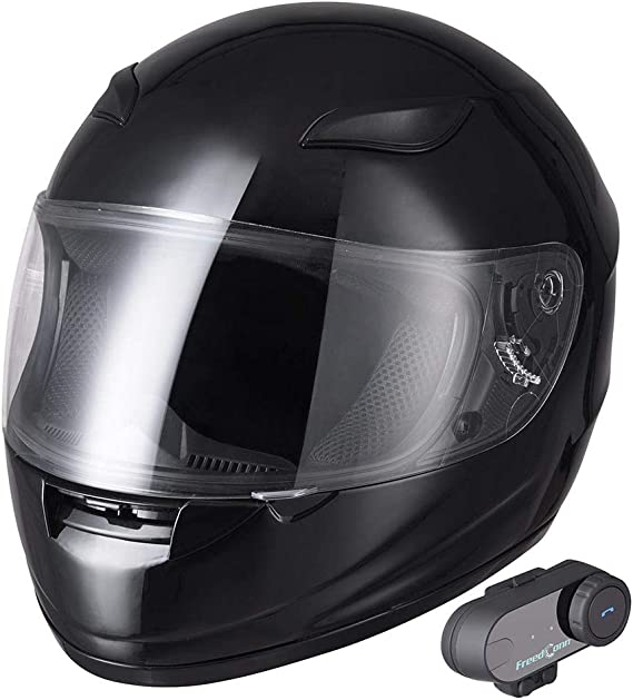 AHR Bluetooth Motorcycle Modular Helmet Full Face with Wireless Headset Hands Free Intercom MP3 FM DOT