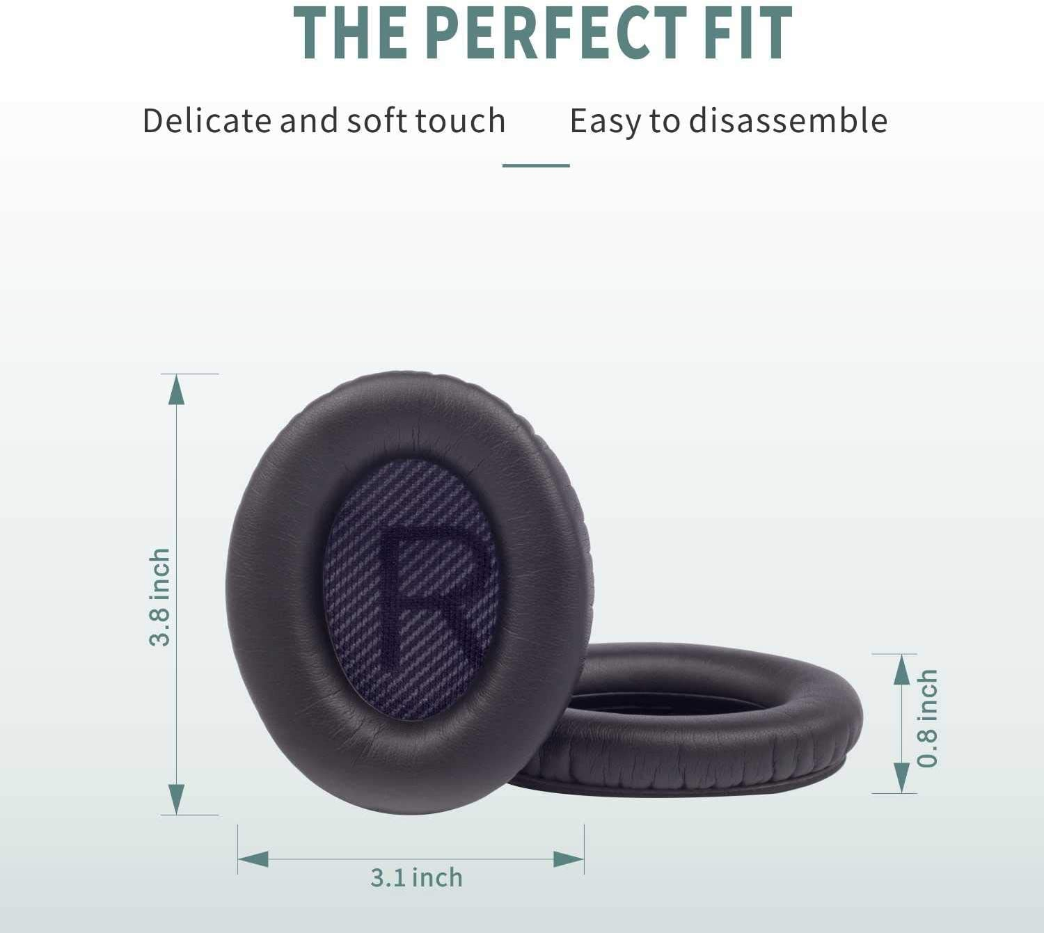 Black Damex Ear Pads Replacement for Bose QC25// QC15;Around Ear 2// ae2//ae2i//ae2w Headphones Earpad Cover