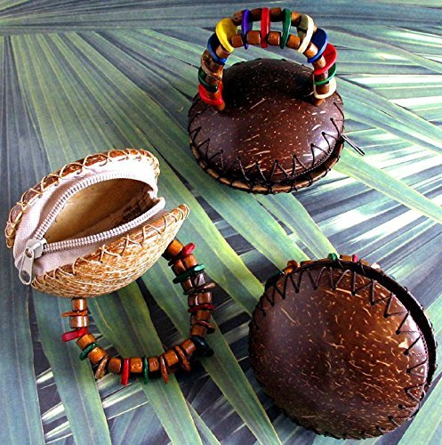 Coconut Shell Coin Purse With Elastic Bracelet