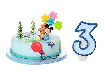 Tortendeko Set 3 Geburtstag Micky Mouse Baby 5 Teilig Mit