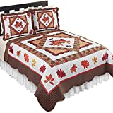 Collections Etc Fall Leaves Patchwork Quilt, Reversible, Holiday Bedroom Décor, Red Multi, King
