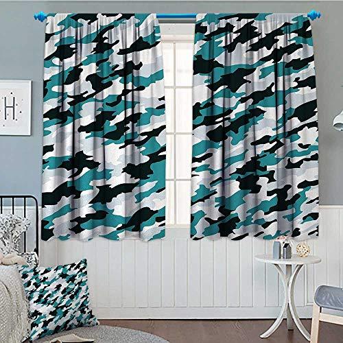 (alilihome Camo Patterned Drape for Glass Door Aquatic Ocean Sea Inspired Illustration Navy Tile Concealment Texture Waterproof Window Curtain 63
