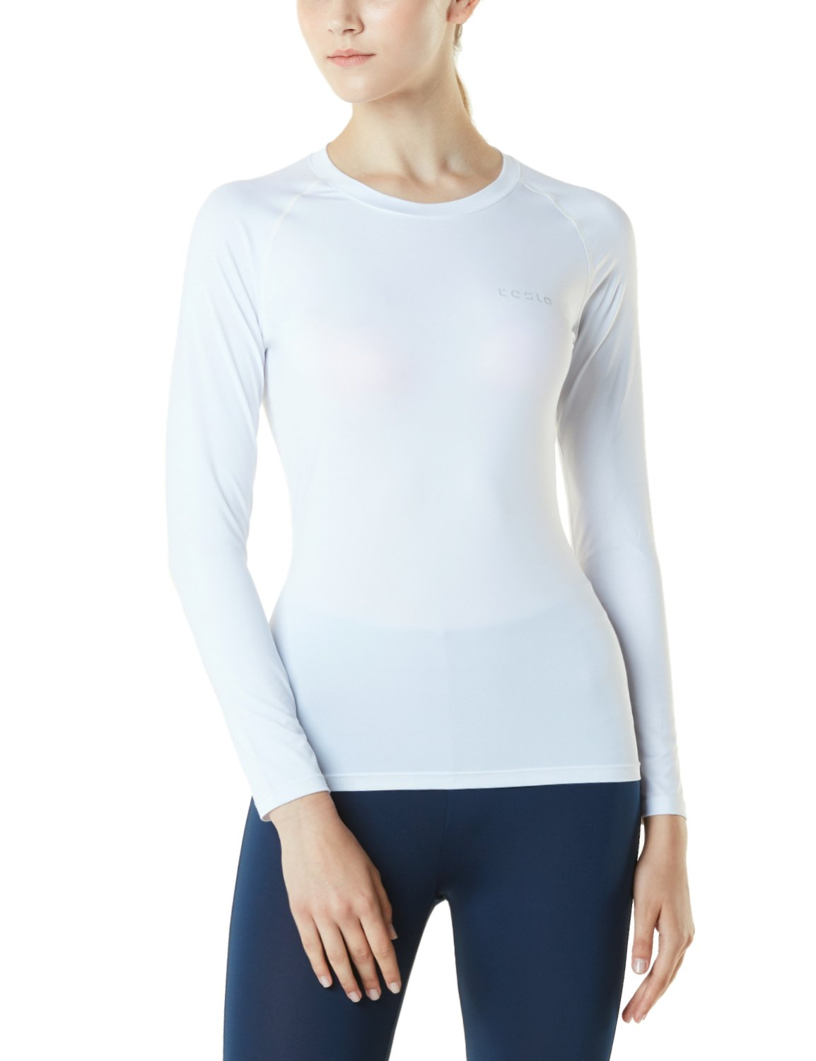 TM-FUD01-WHT_Medium Tesla Women's Compression Long Sleeve T-Shirts Cool Dry Baselayer FUD01