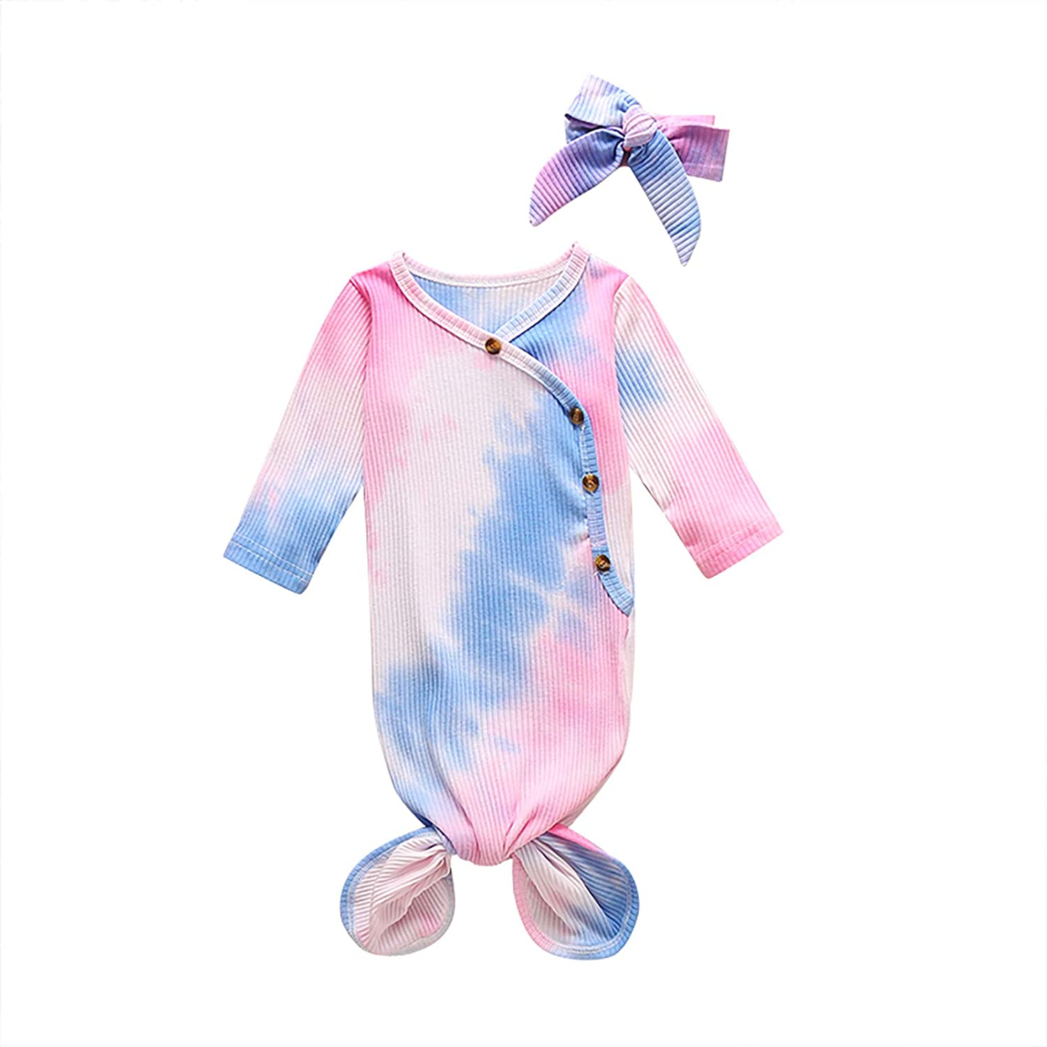 IDOPIP Newborn Baby Boy Girl Tie Dye Clothes Ribbed Gown Swaddle Wrap Knotted Sleepwear Sleeping Bags Hat Pajamas Set Outfit