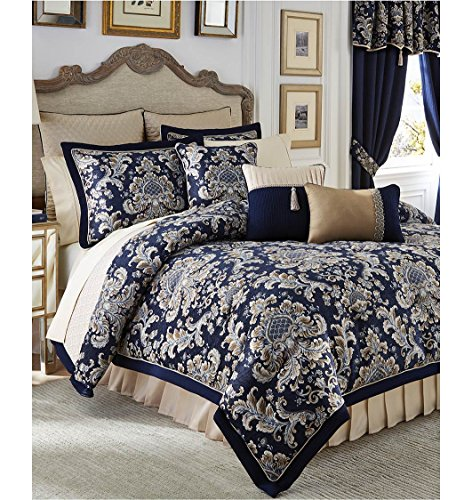 Croscill Queen Size Comforter - CROSCILL IMPERIAL BLUE 4 PIECE QUEEN COMFORTER SET