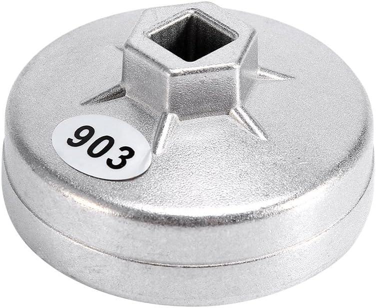 EVGATSAUTO 1 llave para filtro de aceite, 74 mm, 14 flautas de aluminio, llave para filtro de aceite, herramienta para quitar zócalos, 903, color plat